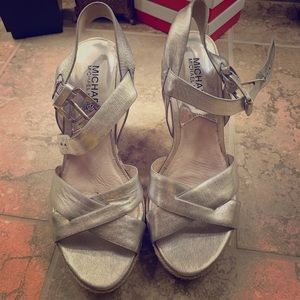 Michael Kors silver wedge sandals